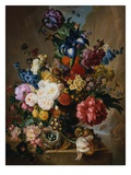 Poppies  Peonies and Other Assorted Flowers in a Terracotta Vase on a Stone Plinth with a Bird's Ne